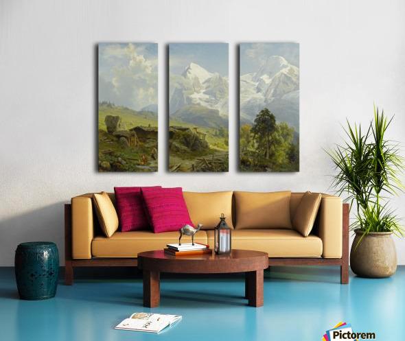 Blick von der Wengerenalp auf Eiger und Monch Split Canvas print