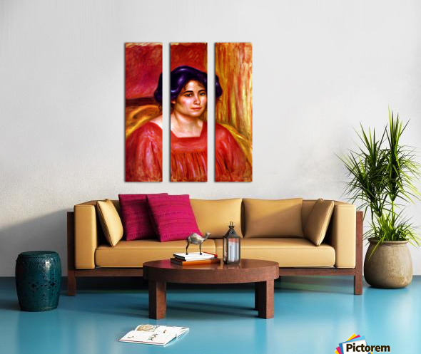 Gabrielle with red blouse by Renoir Split Canvas print