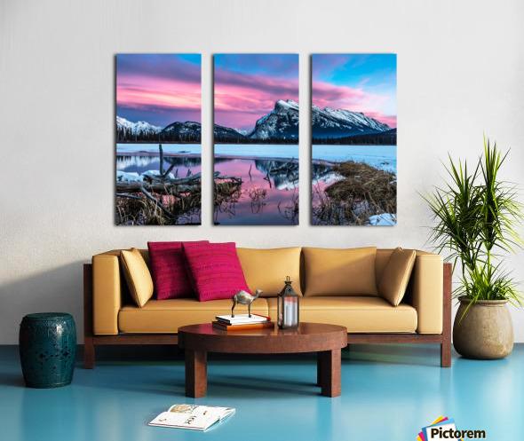 Rundle Mountain Sunset Banff National Park Split Canvas print