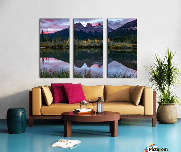 Three Sisters Fall Sunrise Canmore Split Canvas print