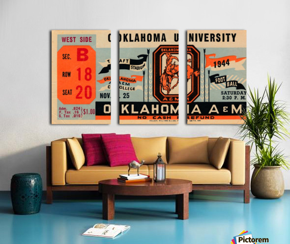 1944 oklahoma sooners osu cowboys ticket stub metal sign college football tickets wood prints art r1 Split Canvas print