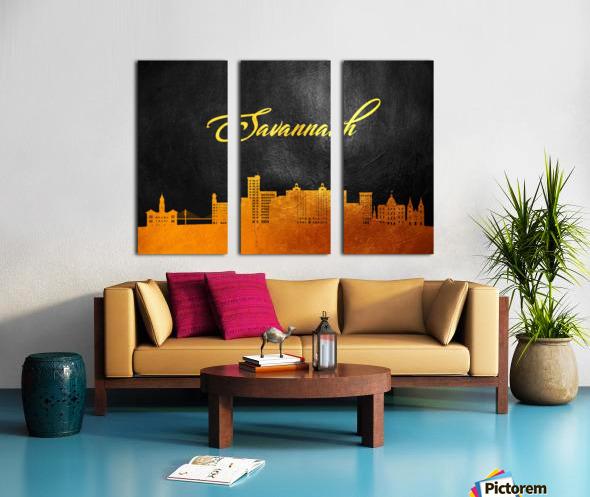 Savannah Georgia Skyline Wall Art Split Canvas print