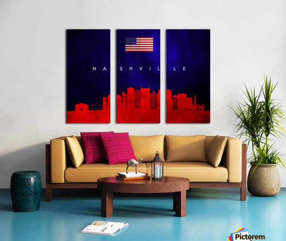 Nashville Tennessee Skyline Wall Art Split Canvas print