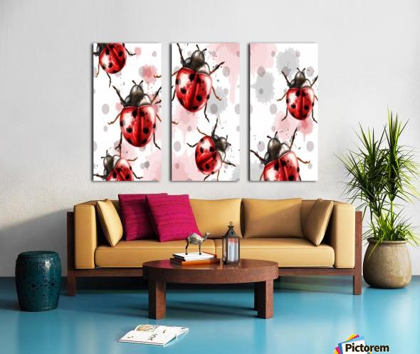 ladybugs pattern texture watercolor_ Split Canvas print