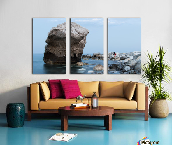 BLUE SEA WITH RED GIRL Split Canvas print