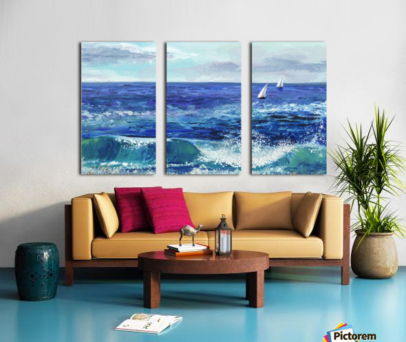 Two Boats In The Ocean Seascape Painting Split Canvas print