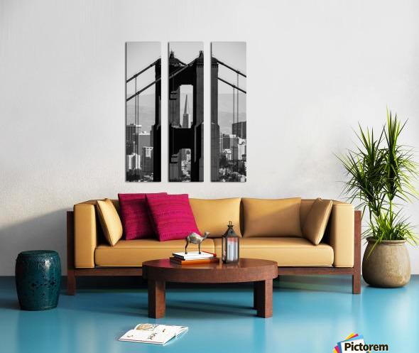 Threading the Needle - Golden Gate Bridge in Black and White Split Canvas print