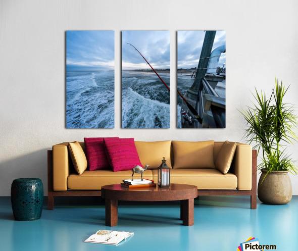Fishing in Huntington Beach Split Canvas print