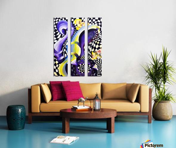 80s Geometric Abstract Watercolor Split Canvas print