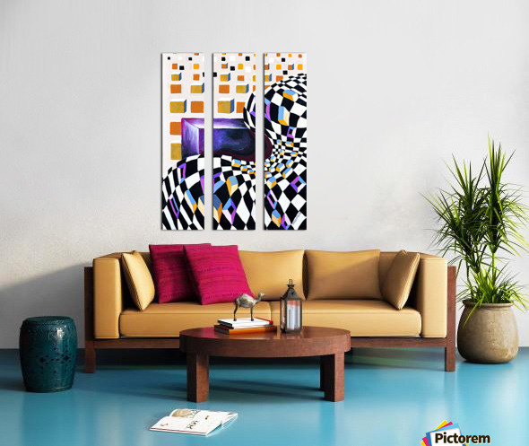 Retro Minimalism Abstract Chess Pattern Split Canvas print