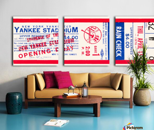 1976 new york yankees yankee stadium ticket stub art poster Split Canvas print