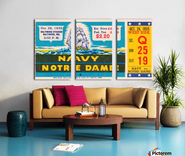 1935 Notre Dame vs. Navy Ticket Stub Wall Art Split Canvas print