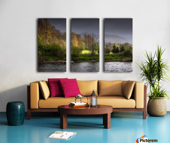 Brecon Beacons and river Usk Split Canvas print