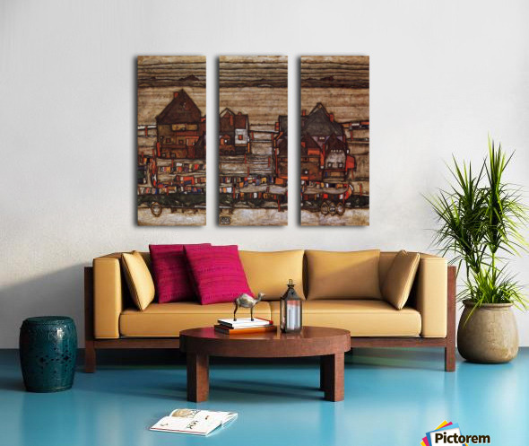 Houses with laundry lines and suburban by Schiele Split Canvas print