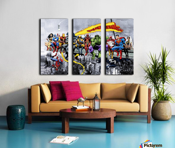 MORE Marvel DC Superheroes Lunch On A Skyscraper New Art Extra Heroes Split Canvas print