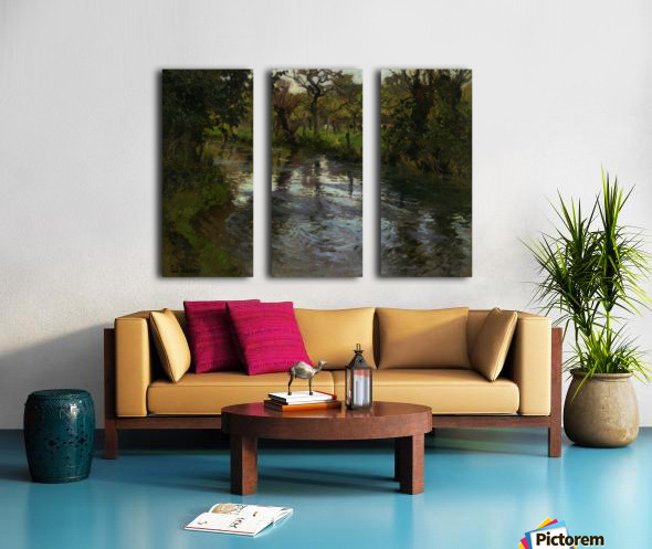 Woodland Scene with a River Split Canvas print