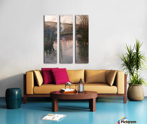 Soleil couchant sur l'Arques a Pequigny Split Canvas print