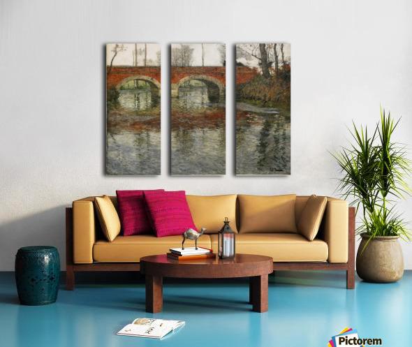 French River Landscape with a Stone Bridge Split Canvas print