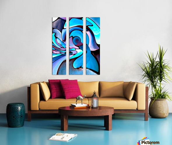 Art Deco_Green _Pattern_Aqua_Black Split Canvas print