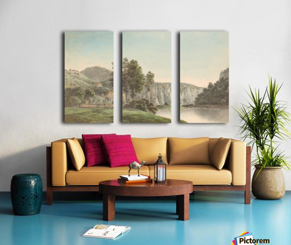 River Landscape with Distant Cliffs Split Canvas print