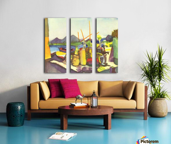 Landscape at Hammamet by Macke Split Canvas print
