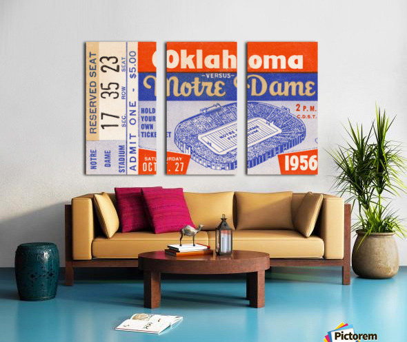 1956 oklahoma notre dame college football ticket stub wall art Split Canvas print