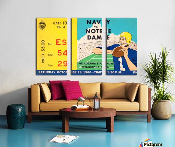 1960 navy notre dame ticket stub canvas Split Canvas print