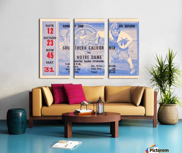 1946 notre dame southern california ticket stub framed prints Split Canvas print