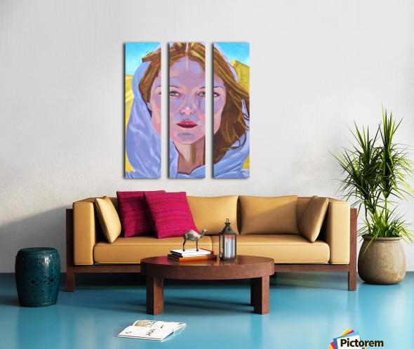 Beautiful blonde woman under a hard sun - Modern, Realism, Figurative, Portraiture, Acrylic  series Split Canvas print