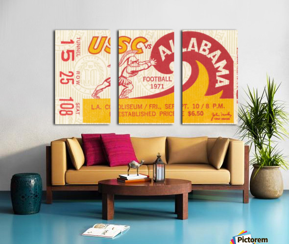 1971 alabama usc trojans football ticket stub prints on wood Split Canvas print