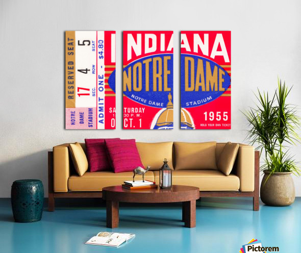 1955 indiana notre dame football ticket stub wall art canvas posters wood Split Canvas print