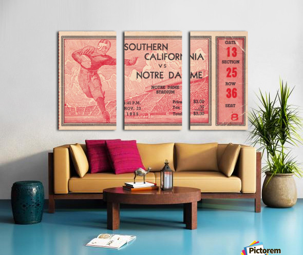 1935 Notre Dame Irish USC Trojans College Ticket Stub Art Split Canvas print