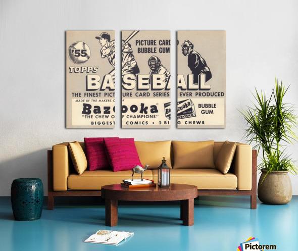 1955 Topps Baseball Bazooka Bubble Gum Vintage Metal Sign Split Canvas print
