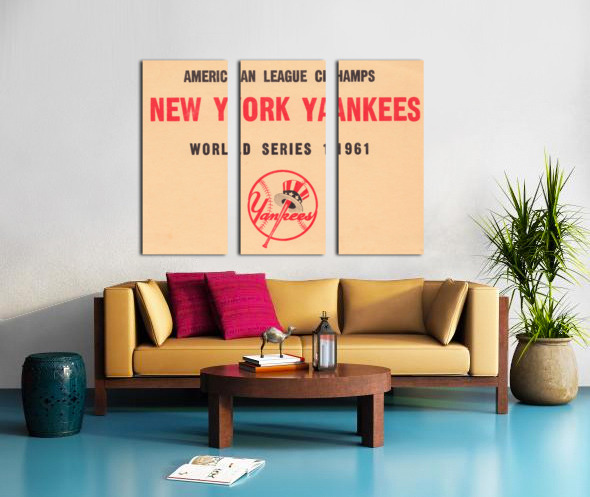 1961 New York Yankees World Series Wooden Baseball Prints Split Canvas print