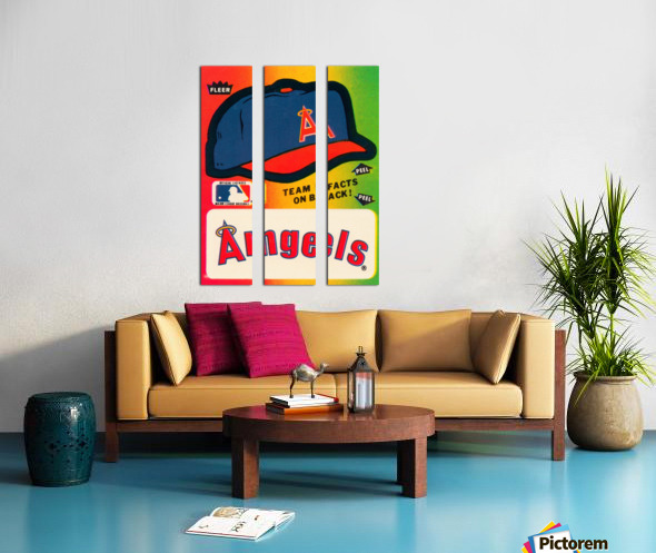 1983 fleer baseball sticker california angels poster Split Canvas print