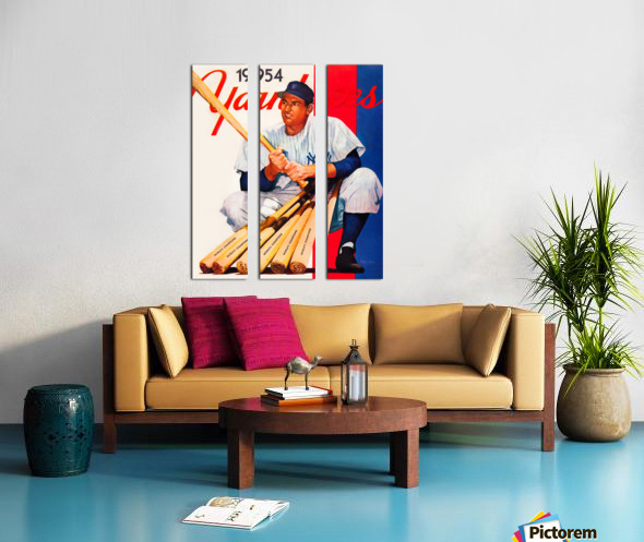 1954 new york yankees vintage baseball art Split Canvas print