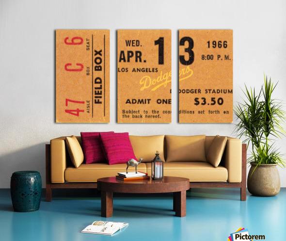 1966 la dodgers baseball ticket stub canvas art Split Canvas print