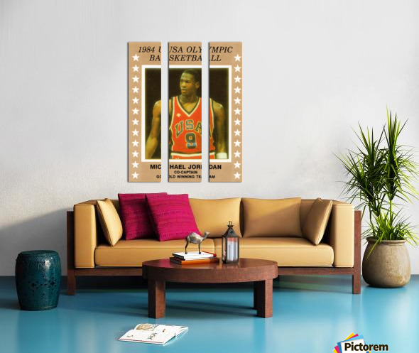 1984 usa olympic basketball gold medal michael jordan wood print Split Canvas print