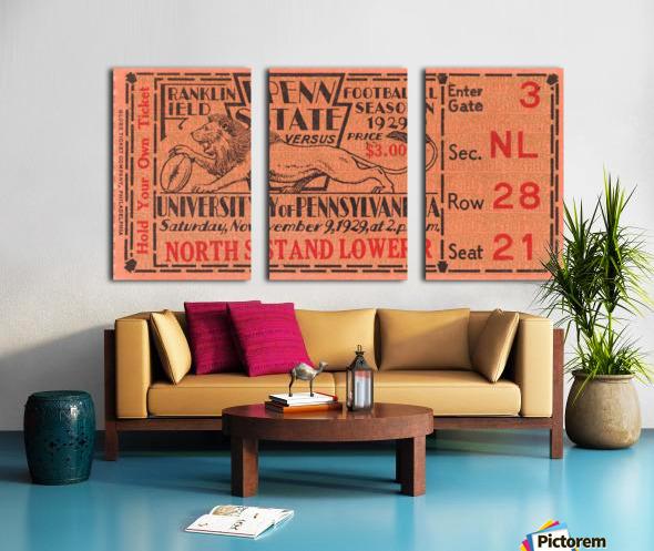 game room decor ideas 1929 pennsylvania penn state ticket canvas Split Canvas print