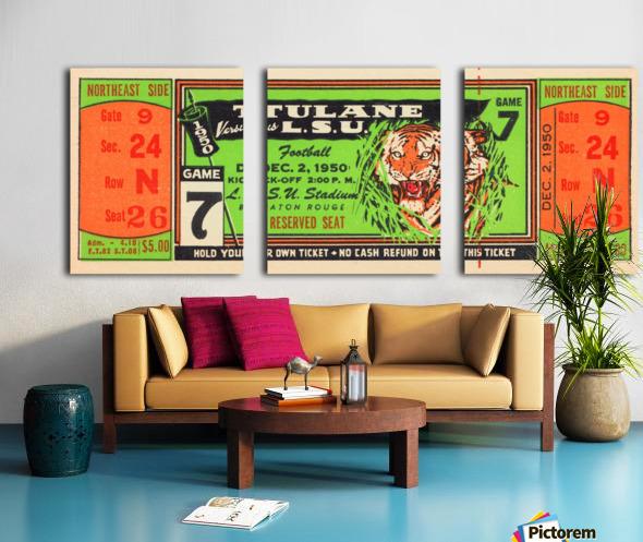 1950 tulane lsu tigers college football ticket sports art gifts baton rouge la Split Canvas print