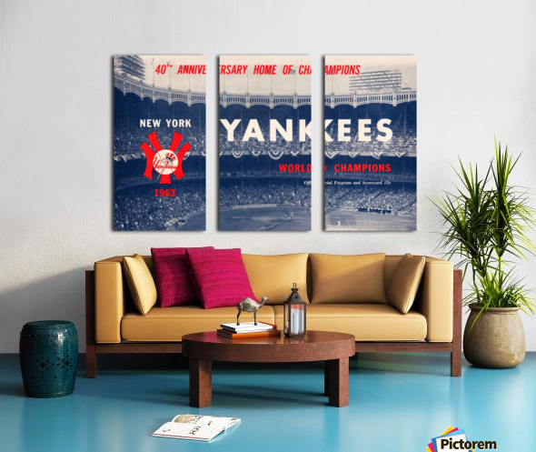1963 new york yankees world champions scorecard canvas Split Canvas print