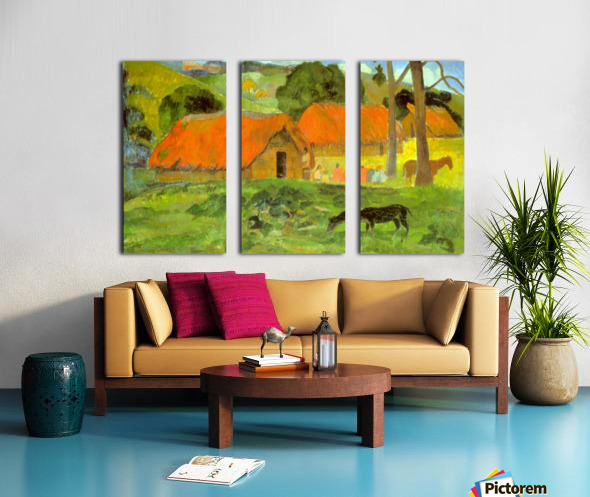 Le Trois Huttes by Gauguin Split Canvas print