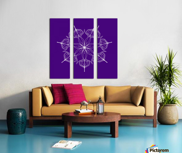 blue flower mandala Split Canvas print