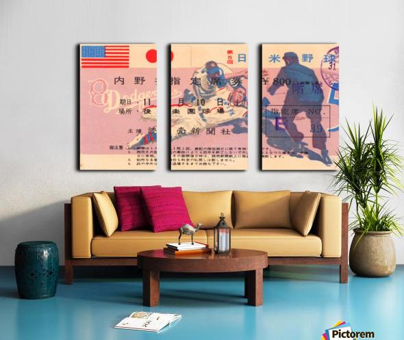 1956 brooklyn dodgers tour of japan baseball ticket stub canvas sports art Split Canvas print