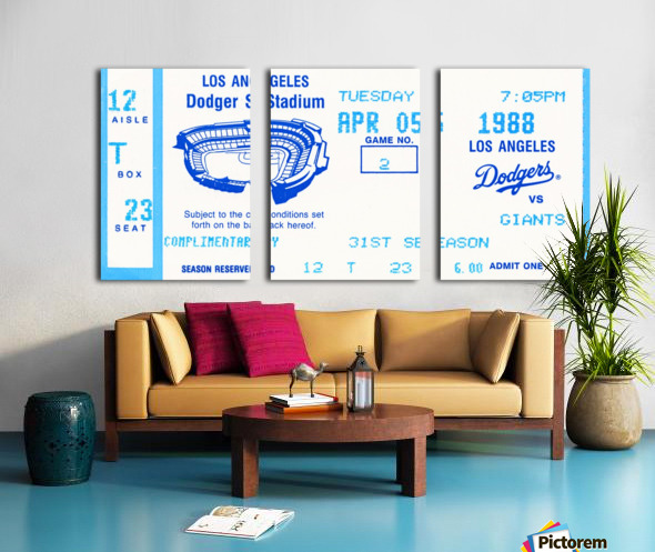1988 la dodgers giants dodger stadium baseball ticket wall art sports gift Split Canvas print
