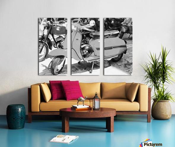 Lambretta Scooter Black and White Split Canvas print