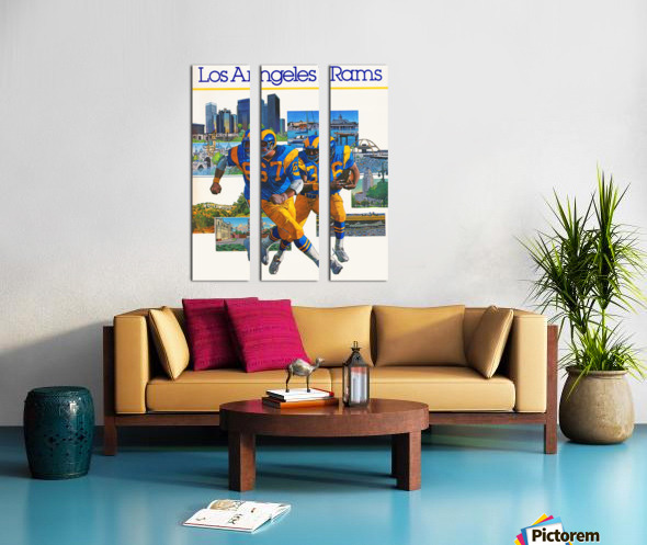 1982 la rams downtown los angeles hollywood poster Split Canvas print