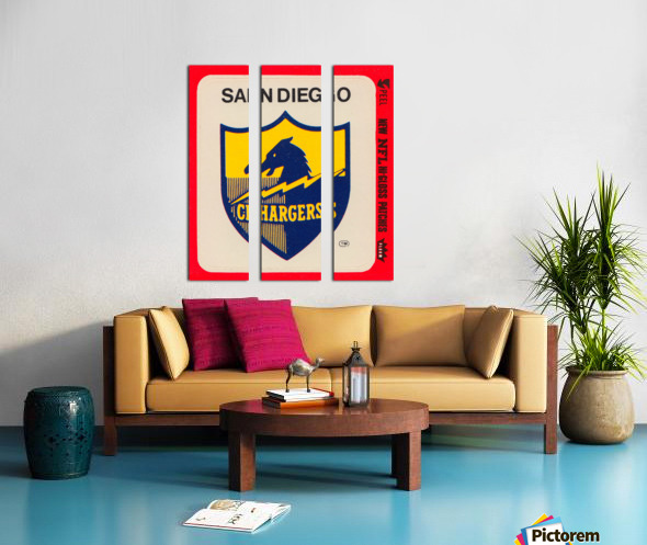 1981 fleer nfl high gloss patch san diego chargers sticker reproduction poster Split Canvas print
