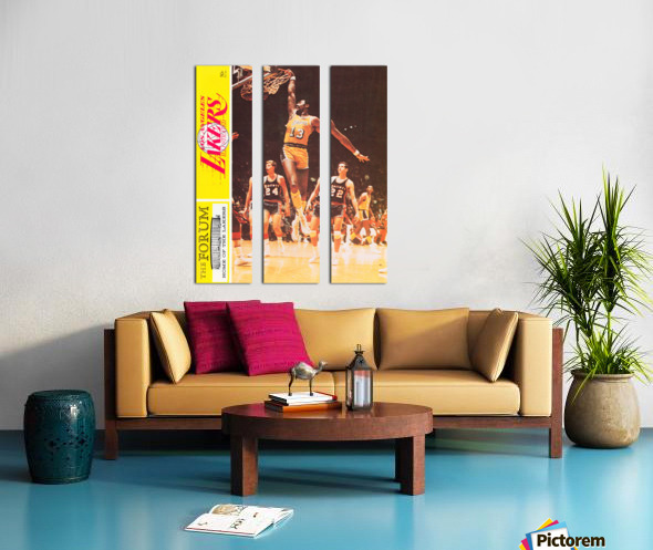 1968 la lakers basketball poster wilt chamberlain dunk photo Split Canvas print