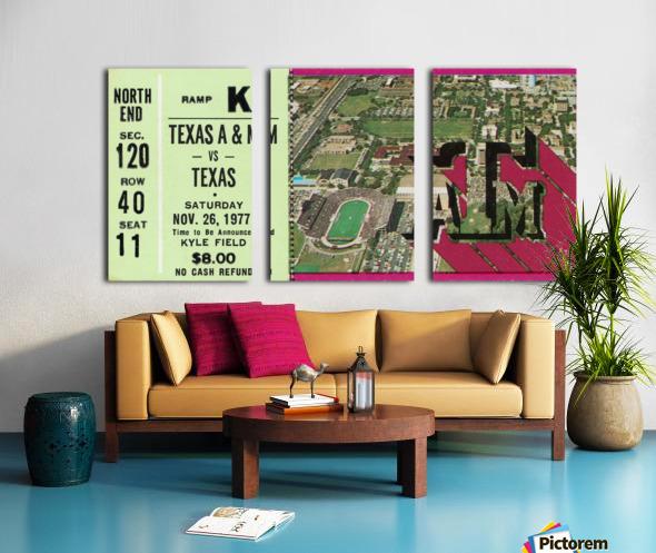 1977 texas am aggies college station football ticket stub wall art Split Canvas print